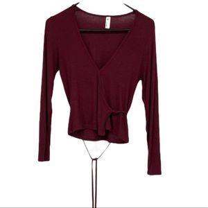 American apparel burgundy crop long sleeve wrap